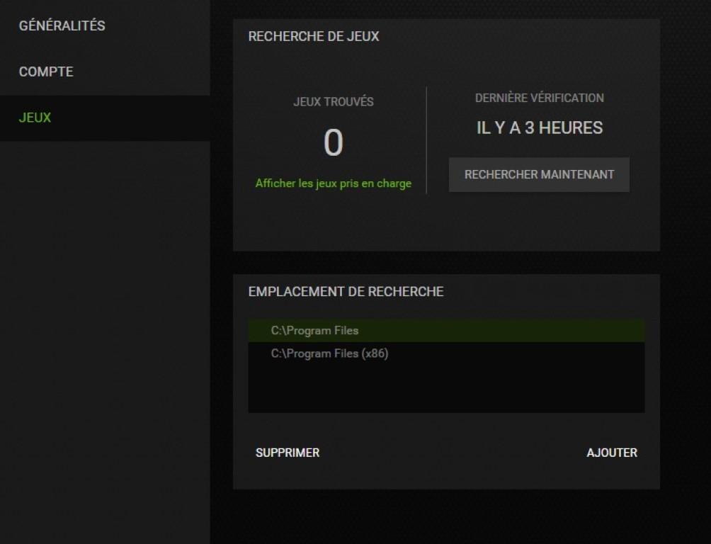 Détection des jeux dans GeForce Experience