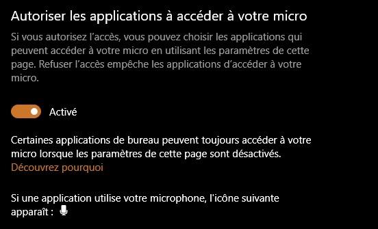 Autoriser les applications à accéder à votre micro