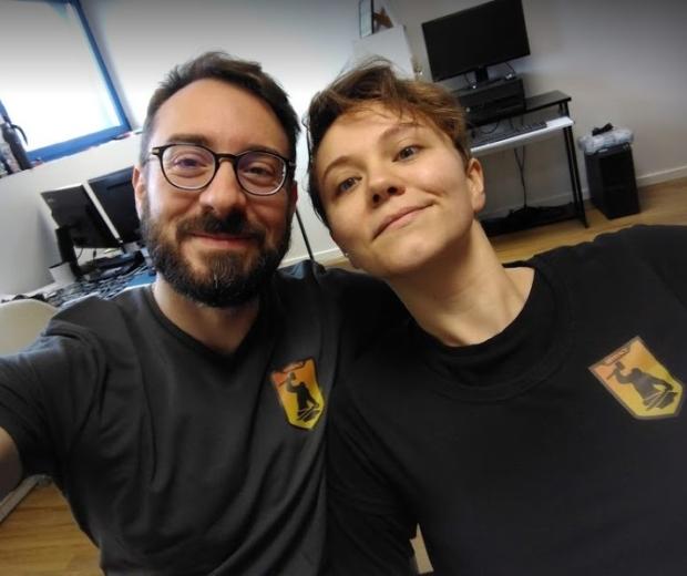 JB et Céline à l'atelier Artefact